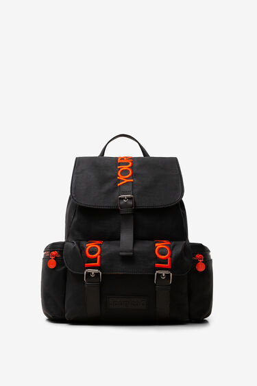 Buckles and message backpack   Desigual