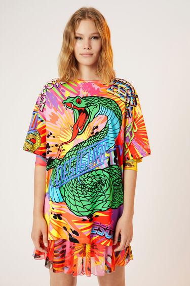 Camiseta oversize serpiente 100% algodón | Desigual