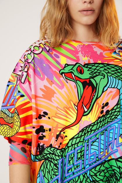 コットン100%スネークオーバーサイズTシャツ