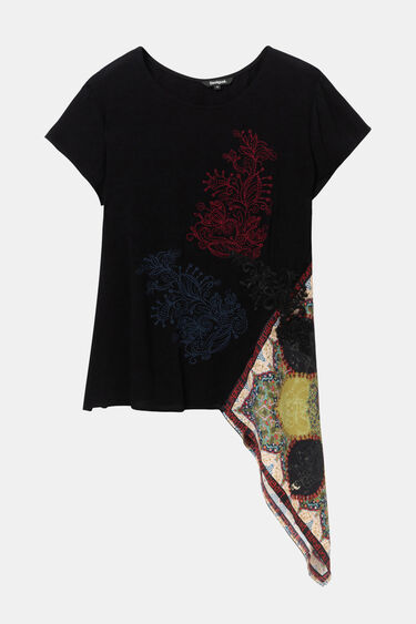 Asymmetric scarf patch blouse | Desigual