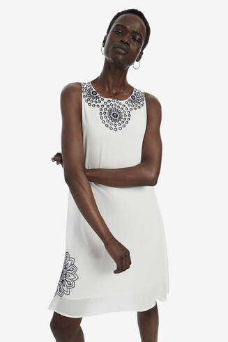 White Trapezium Dress Donna