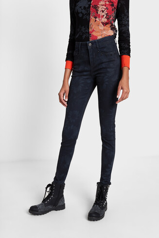Pantalon jean slim tropical
