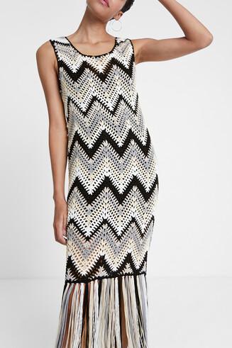 Boho dress in crochet and fringe