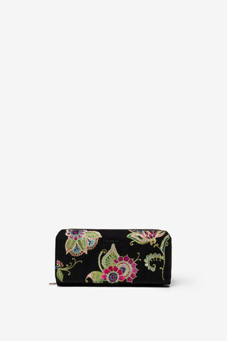 Floral embroidered rectangular wallet