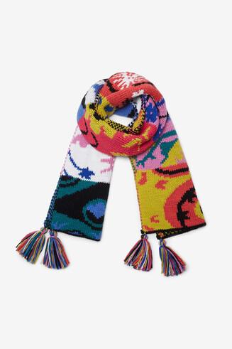 Écharpe tricot pompons