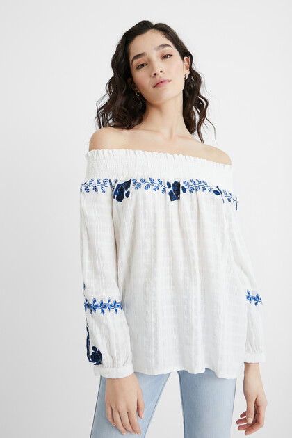 Geborduurde off-the-shoulder-blouse