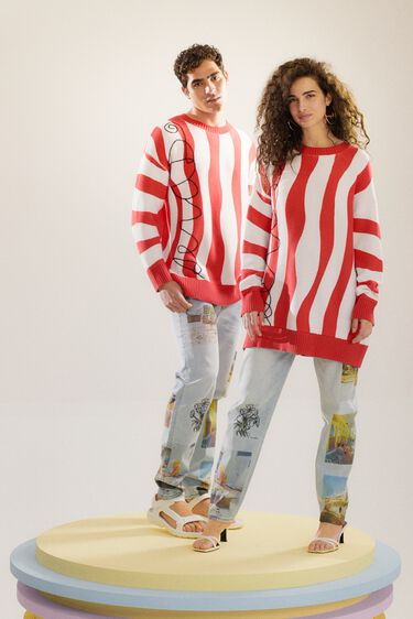 Oversize knit jumper with red waves | Desigual