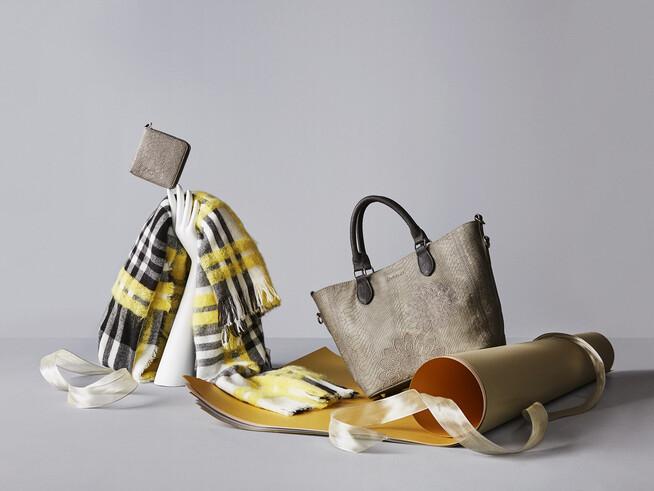 Ensemble sac, porte-monnaie et écharpe