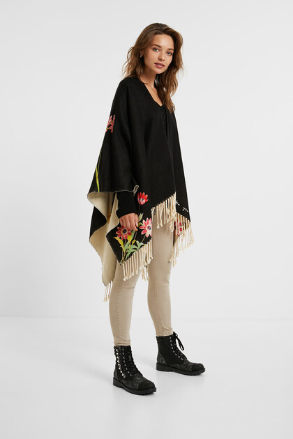 Poncho reversible floral