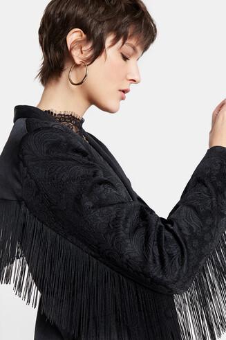 Fringed jacquard blazer