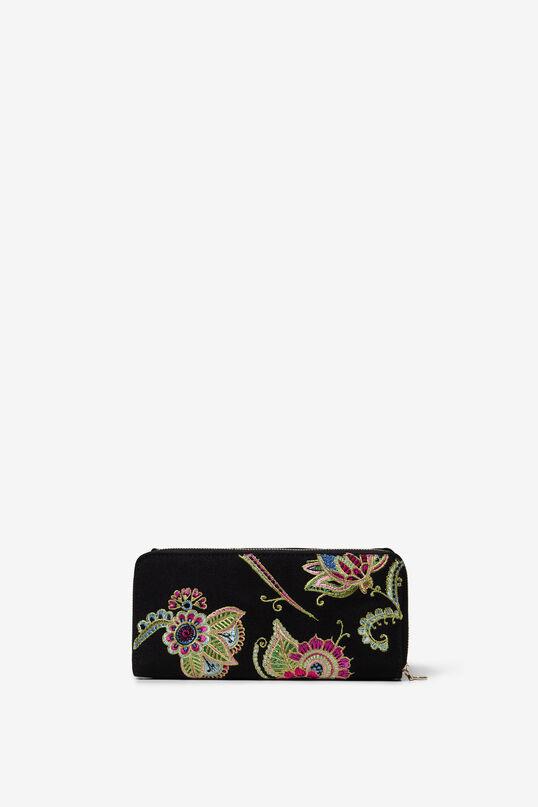 Portefeuille rectangulaire brodé floral.   Desigual