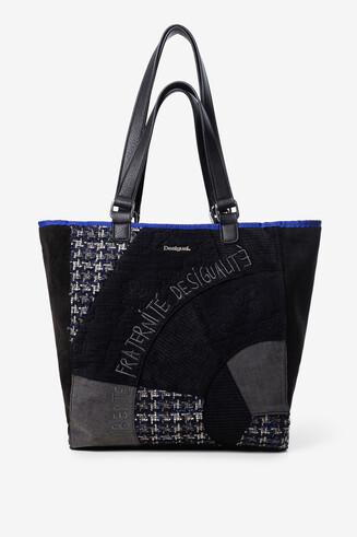 Schwarze Shopping-Bag mit Patches