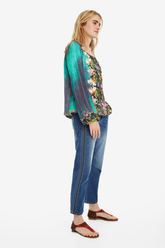 Wassergrüne Bluse mit Blumen Kelly   Desigual