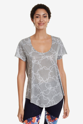 Perforated T-shirt Camo Flower