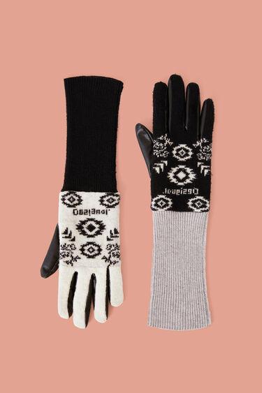 Rękawiczki ze sztucznej skóry i dzianiny trykotowej | Desigual