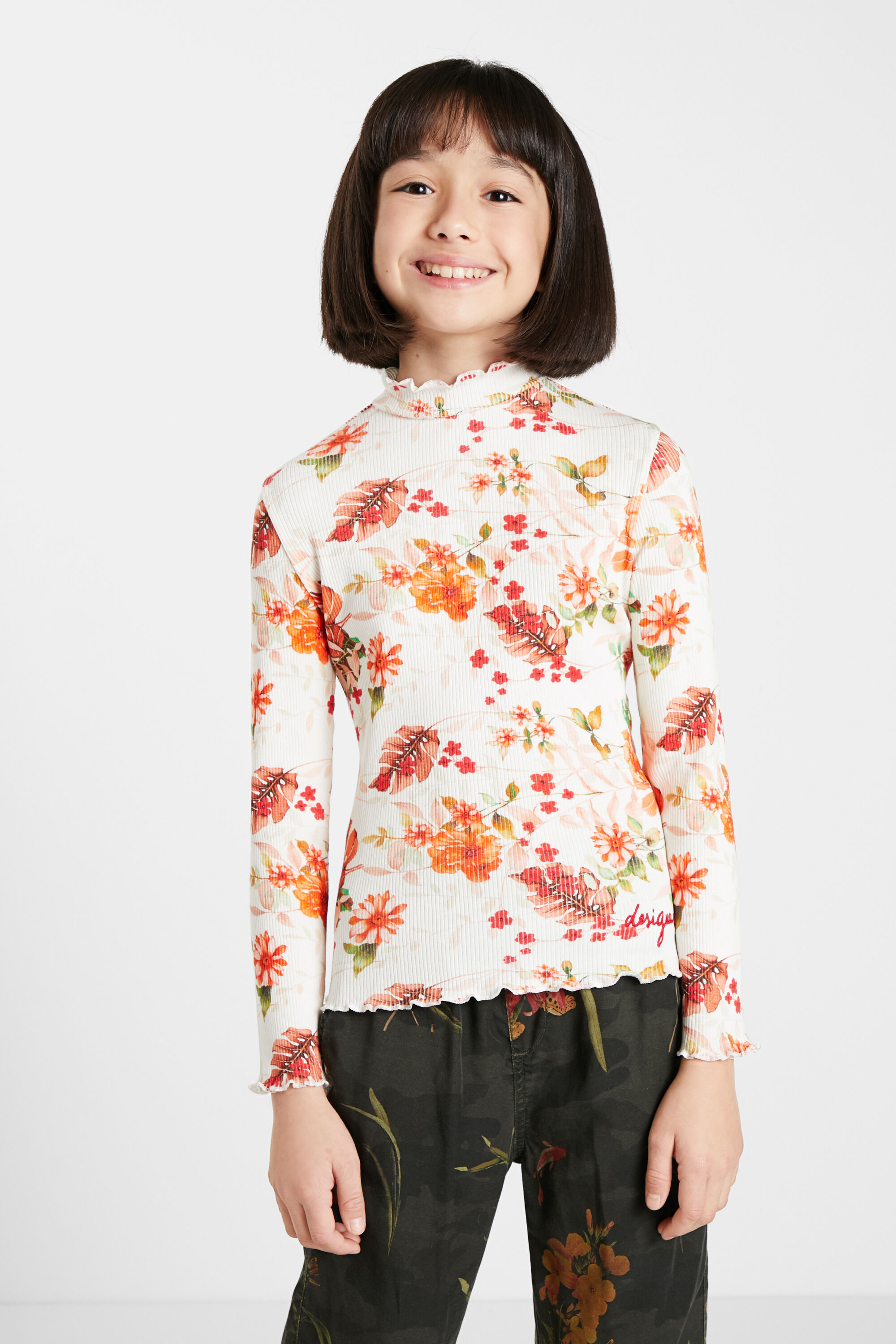 Ribbed T-shirt flowers - WHITE - 13/14