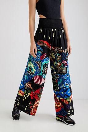 Pantalón ancho cintura elástica