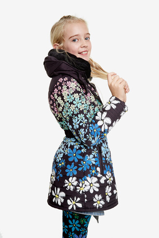 Floral jacket zipper with belt
