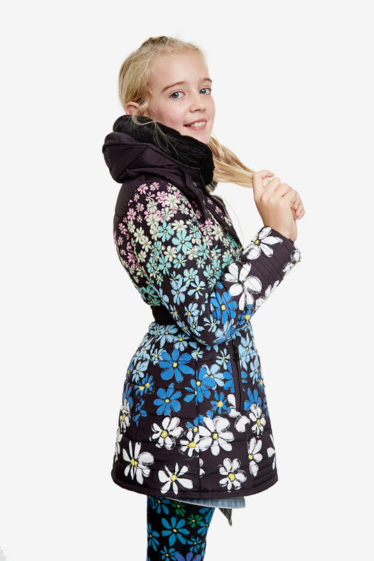 Floral jacket zipper with belt | Desigual