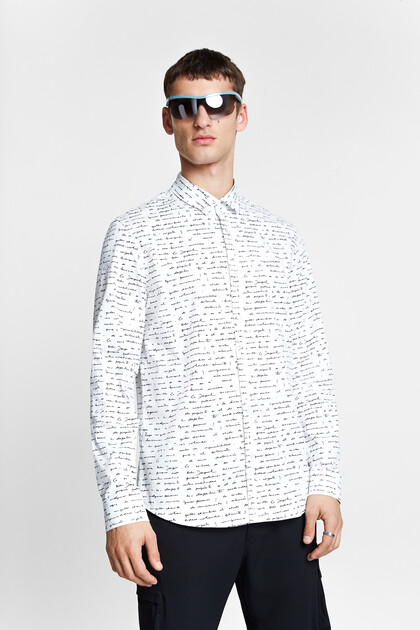 Slim fit lettering shirt