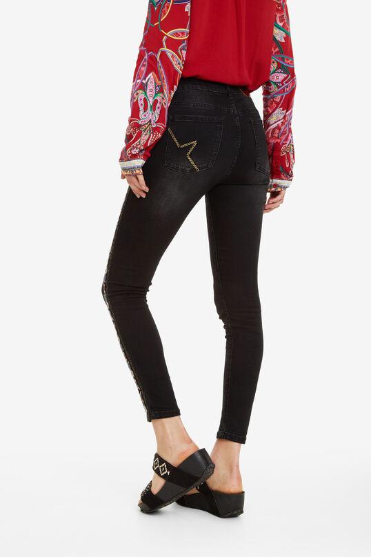 Schwarze Jeans mit Verzierung | Desigual