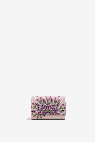 Coin purse with flap, mandalas and rhinestones