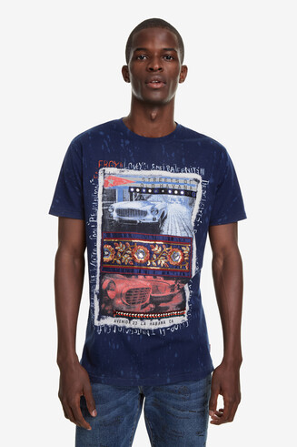 Blue Urban Print T-shirt Pau