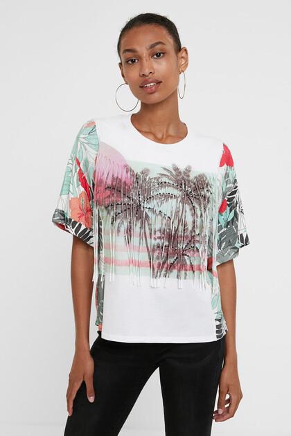 Hawaiian T-shirt with fringe