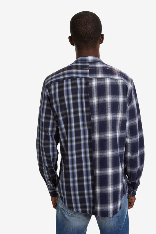 Mandarin collar checked shirt   Desigual