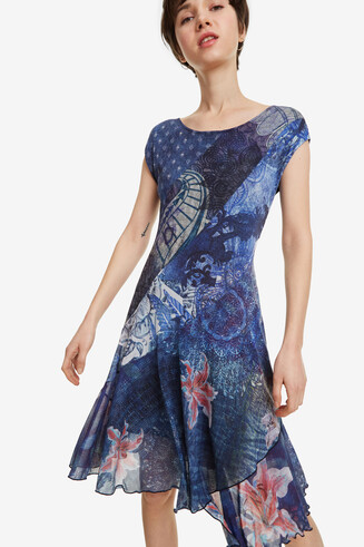 Blue Scarf Print Dress Osages