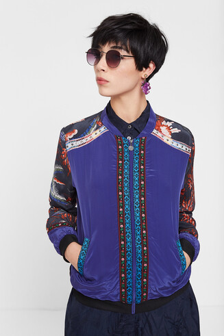 Bomber jacket with oriental print