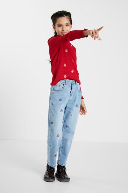 Pantalons texans Mom fit brodats