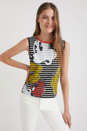T-shirt sans manches à rayures - Mickey Mouse