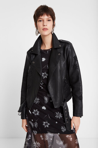 Biker jacket with mandalas