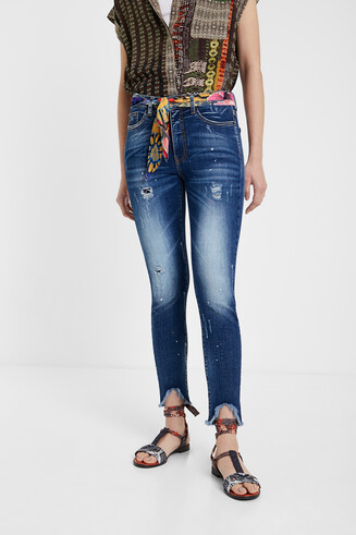 Dark cropped worn jeans