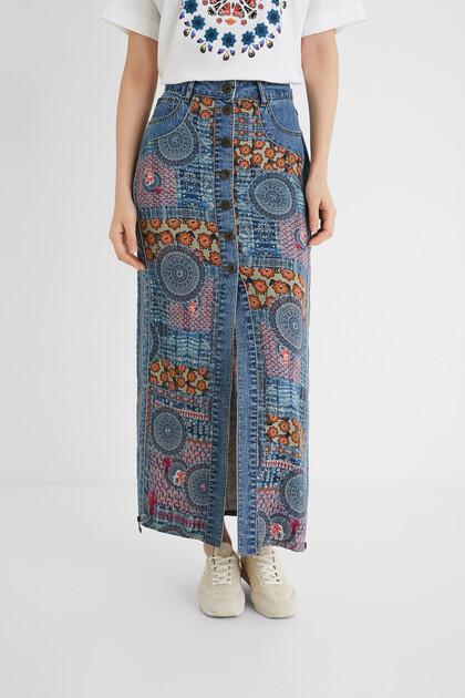 曼荼羅模様 デニムロングスカート