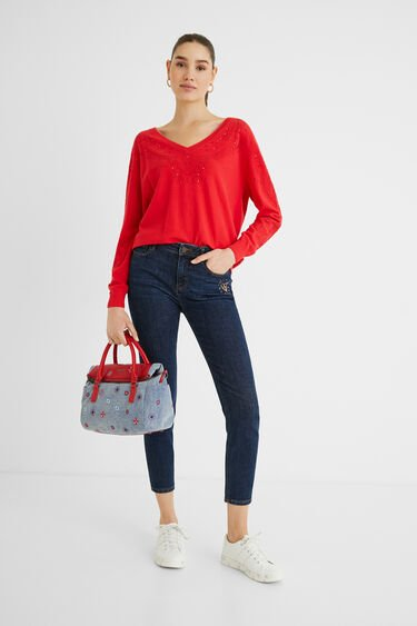 コットン 刺繍ハンドバッグ | Desigual
