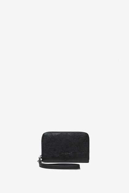 Floral coin wallet zipper