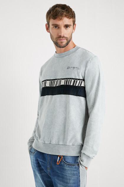 Katoenen trui met gebreide streep