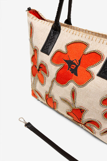 Shopping bag with hibiscus and pearls | Desigual