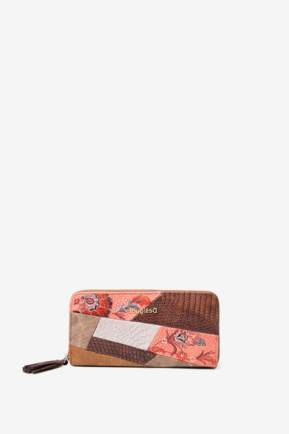 Boho coin wallet floral and artificial python patch