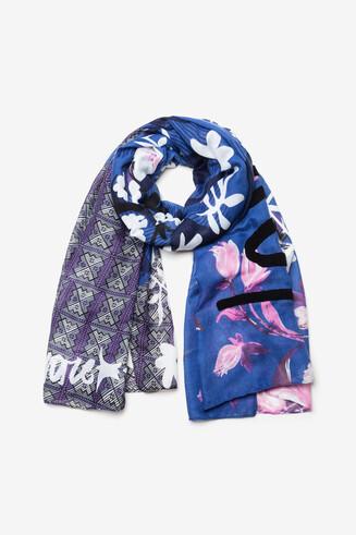 Foulard fleurs tartan