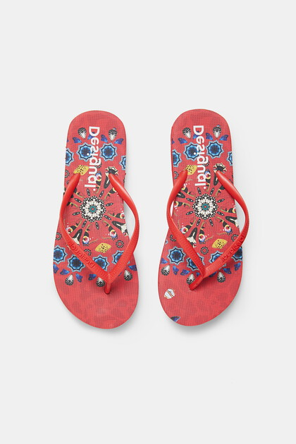 Bathing flip-flops printed sole