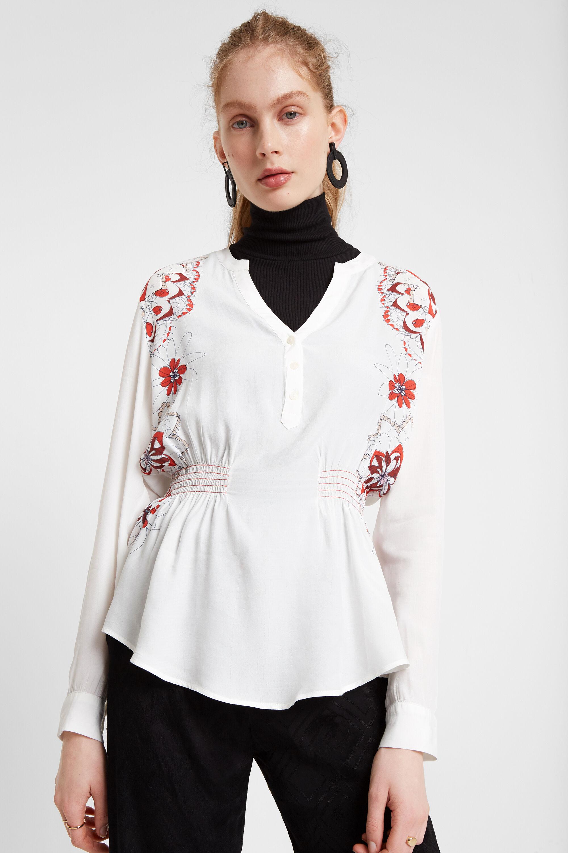 Fitted V-neck blouse - WHITE - XXL