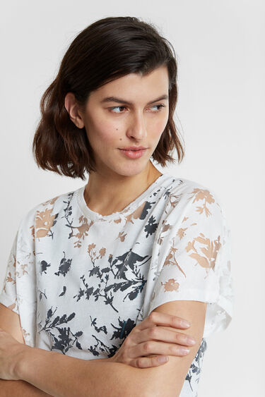 Floral organic T-shirt in devoré and sheer fabric | Desigual