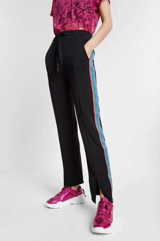 Long trousers with Lurex bands