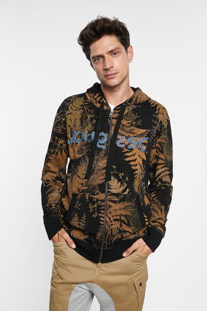 Blouson sweat-shirt coton ouaté capuche