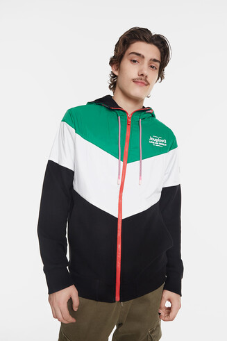 Tricolour sweatshirt jacket