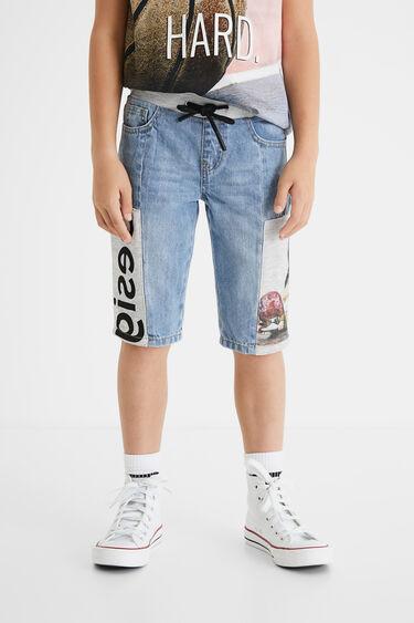 Plush denim short trousers | Desigual