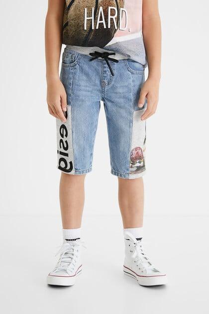 Plush denim short trousers